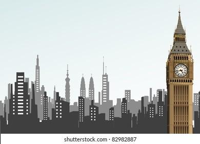 illustration of big ben tower on cityscape backdrop