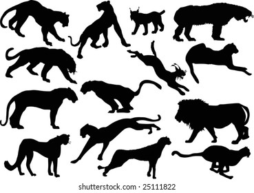 illustration with big cat silhouettes isolated on white background