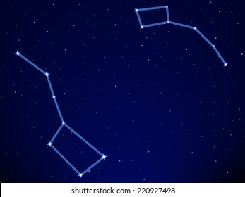 Illustration of the Big Dipper and Little Dipper constellation on starry sky background