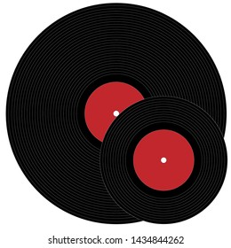Illustration of a big and minion phonograph records on a wooden background