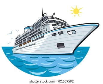illustration of big ocean liner in sea cruise