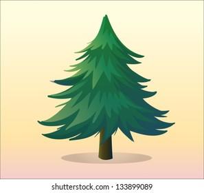 Illustration of a big pine tree