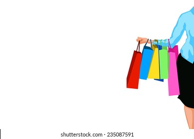 illustration of big sale. a lot of bags on womans hand