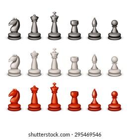 illustration of big set of chess figures on white background