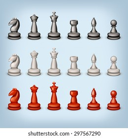 illustration of big set of three color figures for chess on blue background