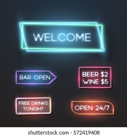 Illustration of Big Set of Vector Neon Sign Plates. Realistic Neon Quote Frame Template