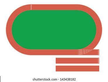 Illustration of big  stadium have running track isolated on white background