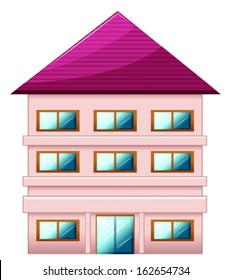 Illustration of a big three-story house on a white background