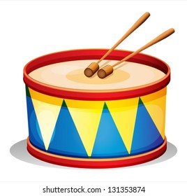 Illustration of a big toy drum on a white background