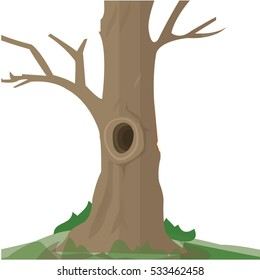 Illustration of a big trunk of a tree with a hole