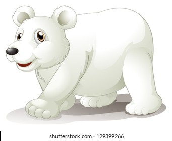 Illustration of a big white bear on a white background