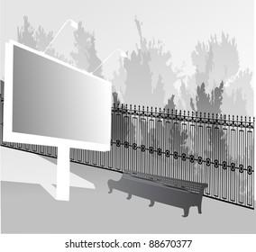 illustration with billboard near park fence