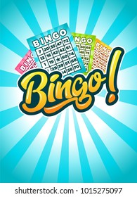 Illustration of bingo game with cards