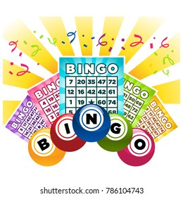 Illustration of bingo game cards and balls