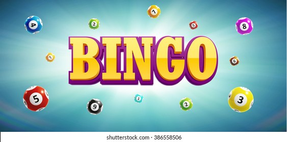 illustration of bingo lottery balls and place for text