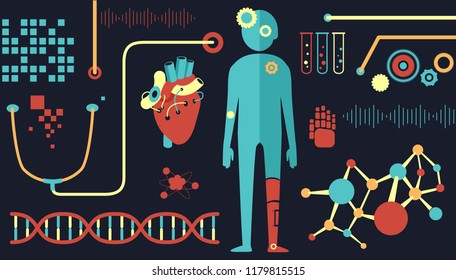 Illustration of Biomedical Engineering Elements like DNA, Man, Heart and Stethoscope