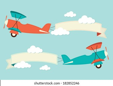 Illustration of a biplane with banners