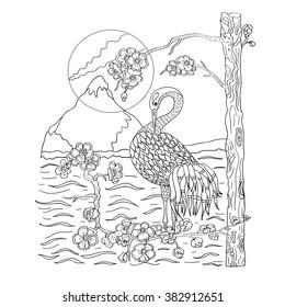 Illustration with bird