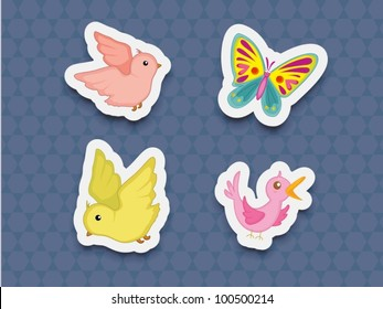 Illustration of bird and butterfly stickers