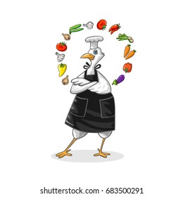 Illustration with a bird dressed as a cook and with vegetables. Colorful vector