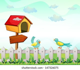 Illustration of a bird house with an arrow board and birds above the fence
