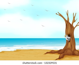 Illustration of a bird inside the tree hollow at the seashore