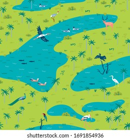 Illustration of Bird Sanctuary landscape with lot of wetland birds. Seamless pattern can be printed and used as wrapping paper, wallpaper, textile, fabric, etc.