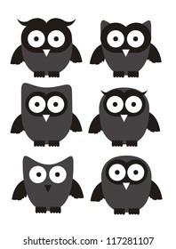 Illustration of birds icons, icons with animal silhouettes. vector illustration