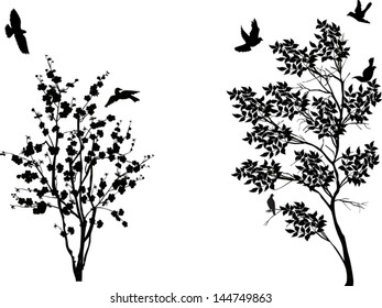 illustration with birds near small trees isolated on white background