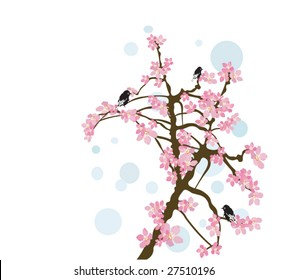 фотообои Illustration of birds on a tree