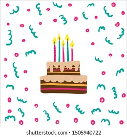 Illustration with birthday cake on white background with confetti and streamers. Multi-colored tiered cake with candles. Holiday card for birthday.