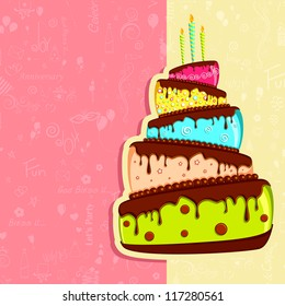 illustration of birthday card with colorful cake