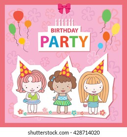 Illustration of a Birthday Celebrant postcard banner girls Candles vector balloon three