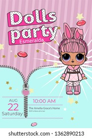 Illustration Birthday invitation Line Art Cute Girl, lol  Vector Illustration - Outline Image for coloring book doll