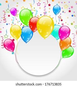 Illustration birthday invitation with multicolored balloons and confetti - vector