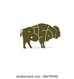 """Illustration bison painted the word """"bison"""". For child development and games."""