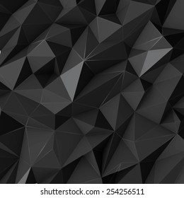 Illustration of black abstract background from polygon