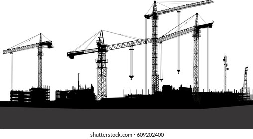 illustration with black buildings and cranes isolated on white background