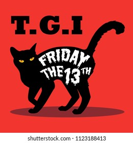An illustration of black cat with friday the 13th word on its body. vector illustration