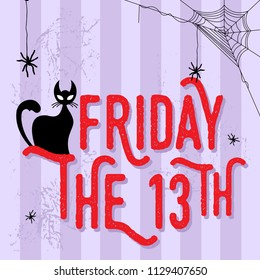 An illustration of black cat with friday the 13th word. vector illustration