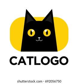 Illustration of black cat logo. Vector of cat icon.