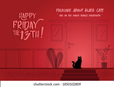 Illustration of a black cat sitting on the porch of a house on a red background