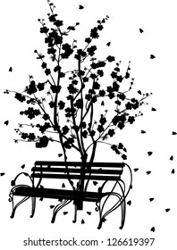 illustration with black cherry tree blossom and bench