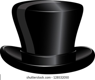 illustration of a black cylinder hat on a white background