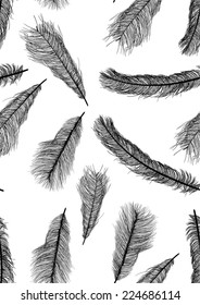 illustration with black feathers seamless background