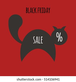 illustration for black friday sale with black cat and percent on red background. flat style. vector eps-10