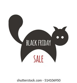 illustration for black friday sale with black cat and red text on white background. flat style. vector eps-10