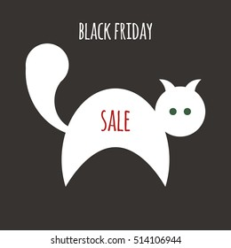 illustration for black friday sale with white cat and red text on dark background. flat style. vector eps-10