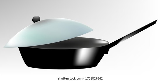 illustration of a black frying pan, with a transparent lid, lens flare, on a white-gray background