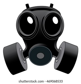 Illustration of a Black head gear Gas Mask with double filter
